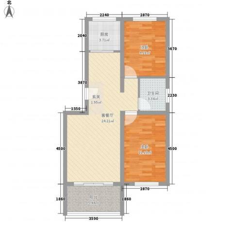 格兰小镇2室1厅1卫1厨82.00㎡户型图