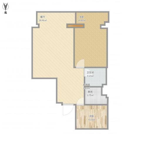 明都大厦2室1厅1卫1厨76.00㎡户型图