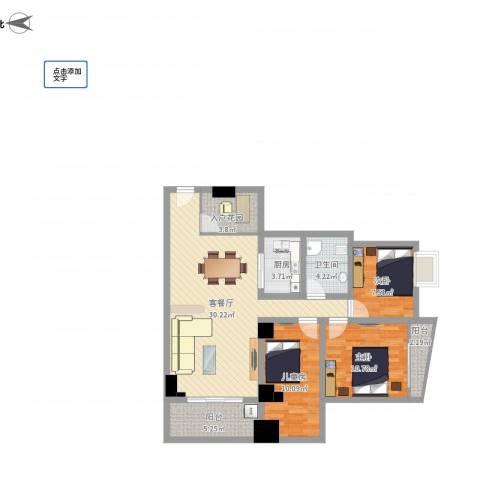润福苑3室1厅1卫1厨113.00㎡户型图