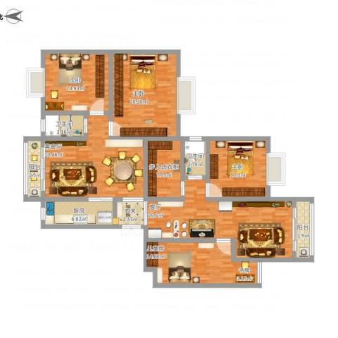 岳银欣苑4室2厅2卫1厨185.00㎡户型图