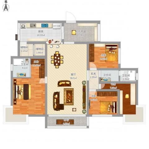缙云小区4室1厅3卫1厨174.00㎡户型图