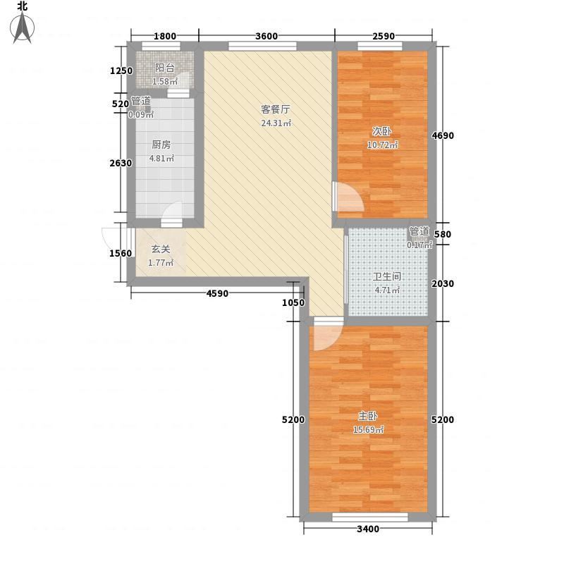 万龙名城一期A11户型2室2厅1卫