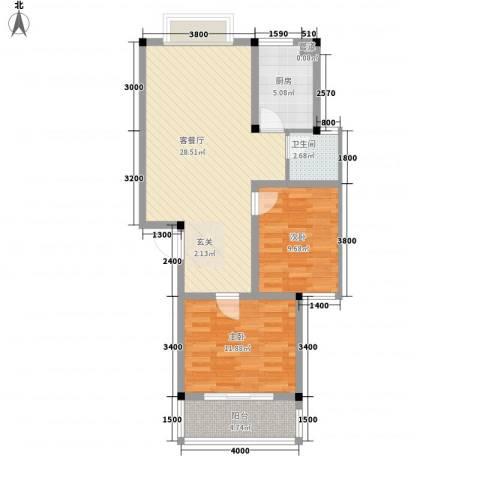 中浩森林湾2室1厅1卫1厨62.65㎡户型图