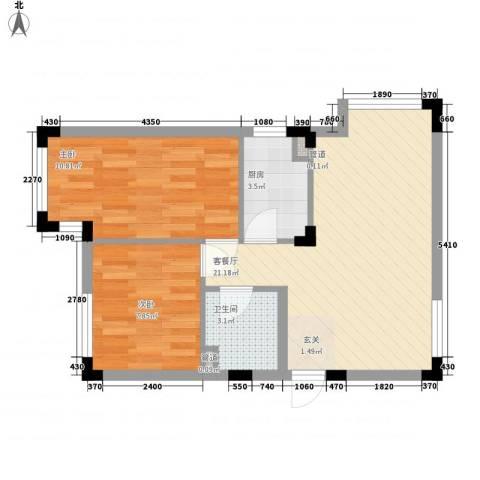 万科兰乔公寓2室1厅1卫1厨53.00㎡户型图