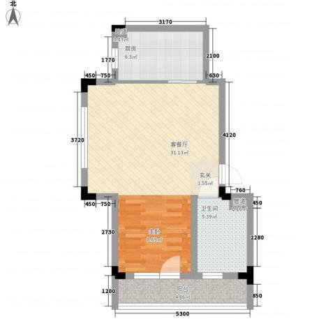 万科兰乔公寓1厅1卫1厨54.58㎡户型图