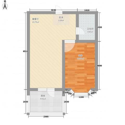 亿兴润景1室1厅1卫1厨55.00㎡户型图