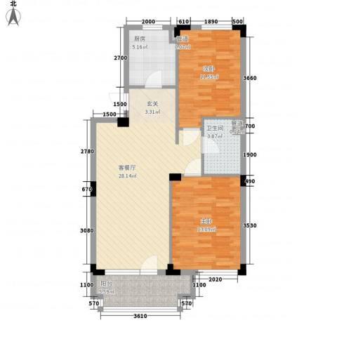 万科兰乔公寓2室1厅1卫1厨76.20㎡户型图