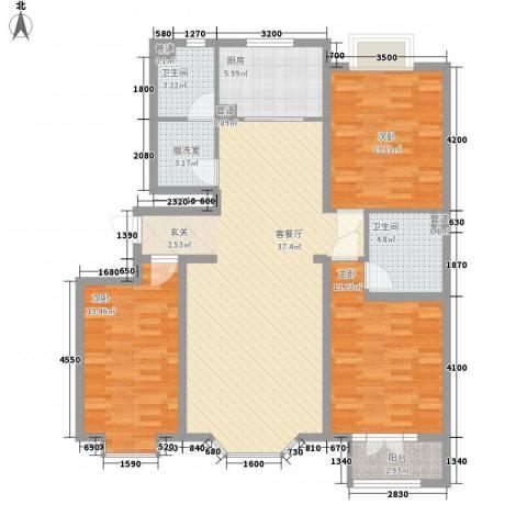 万科兰乔公寓3室2厅2卫1厨111.21㎡户型图