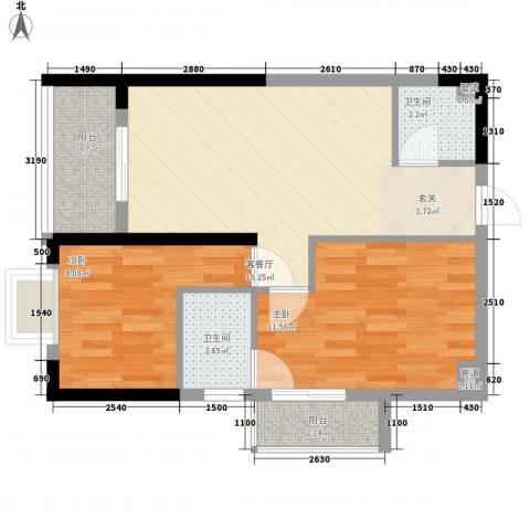 金领中心2室1厅2卫0厨83.00㎡户型图