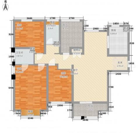 山海��(仙岳大厦)3室1厅2卫1厨162.00㎡户型图