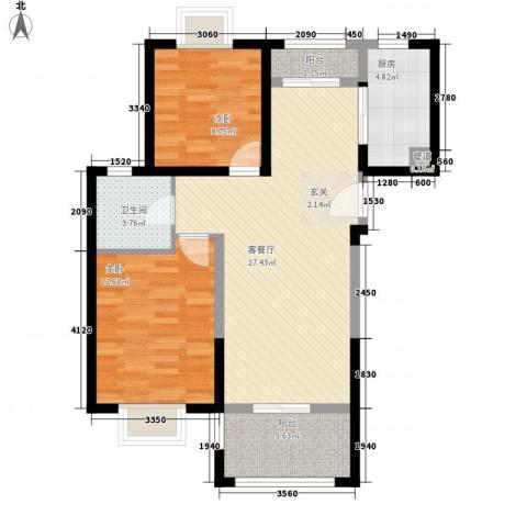上海裕花园2室1厅1卫1厨94.00㎡户型图