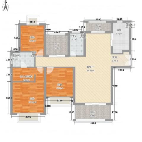 莱蒙水榭春天3室1厅2卫1厨140.00㎡户型图