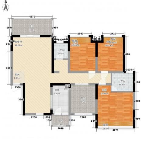 银安花园3室1厅2卫1厨156.00㎡户型图