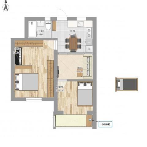 松林小区2室1厅1卫1厨53.23㎡户型图