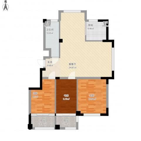 高新・锦绣北山3室1厅1卫1厨114.00㎡户型图