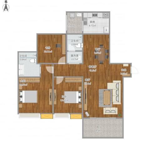 美好家园3室2厅2卫1厨150.00㎡户型图