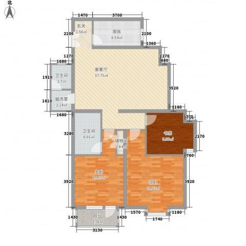 空港米兰花园3室2厅2卫1厨138.00㎡户型图