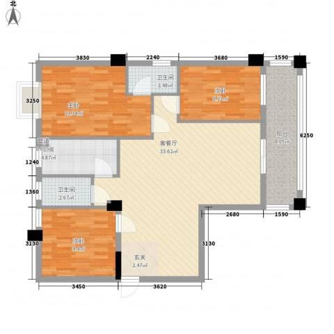 国兆蜜园3室1厅2卫1厨115.00㎡户型图