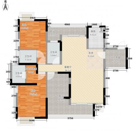 逸林苑2室1厅3卫1厨155.00㎡户型图