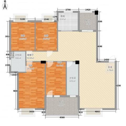 银安花园4室1厅2卫1厨190.00㎡户型图