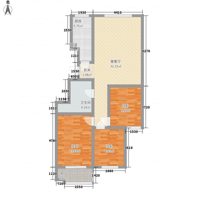 普利利源花园114.00㎡F户型3室2厅2卫