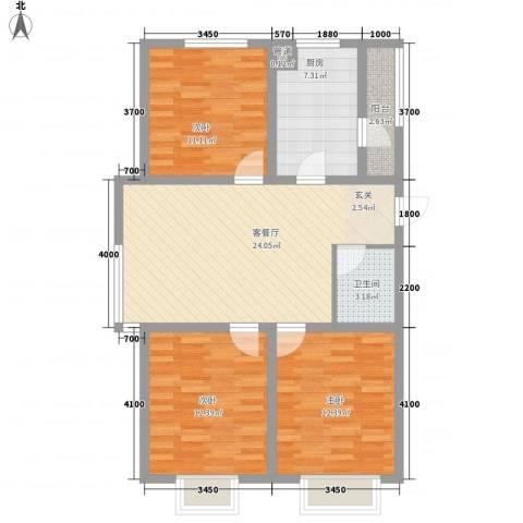 南奥国际3室1厅1卫1厨110.00㎡户型图