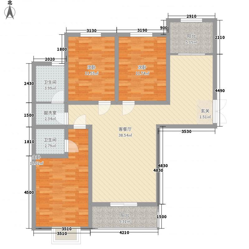 香鹿山城市花园142.00㎡F户型3室2厅2卫1厨