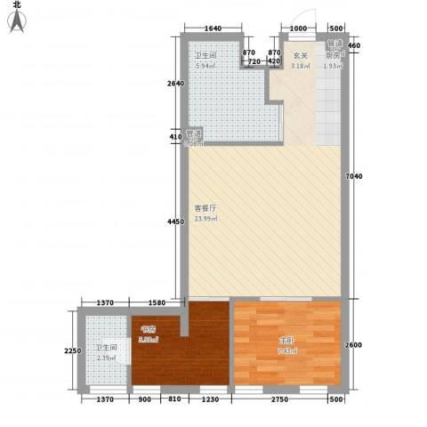 海天广场2室1厅2卫0厨45.91㎡户型图
