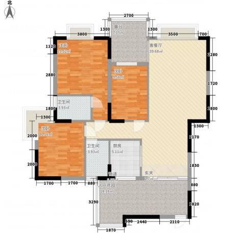 江南丽苑二期3室1厅2卫1厨158.00㎡户型图