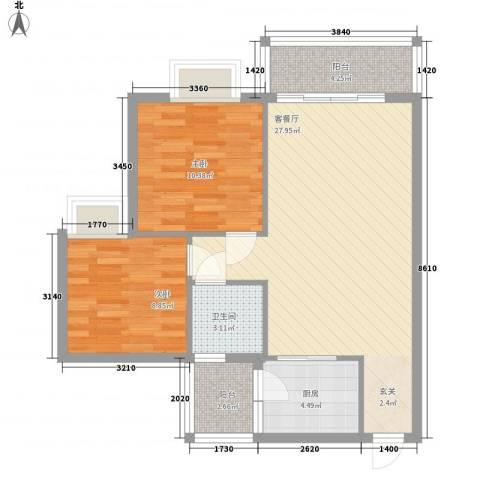 朗城家园2室1厅1卫1厨88.00㎡户型图