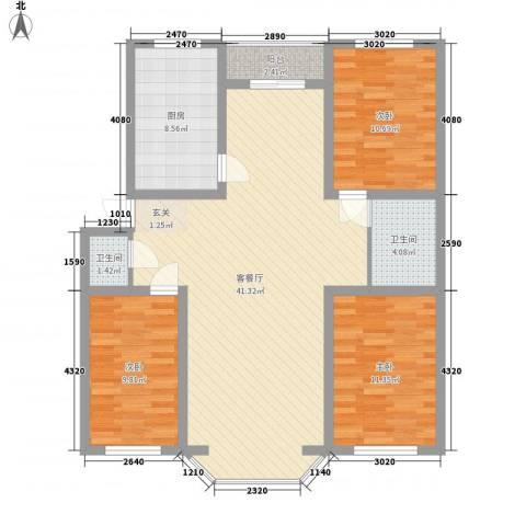 我的家园3室1厅2卫1厨127.00㎡户型图