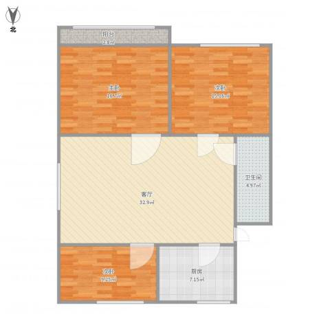 京都苑36栋2单元3013室1厅1卫1厨7000.00㎡户型图