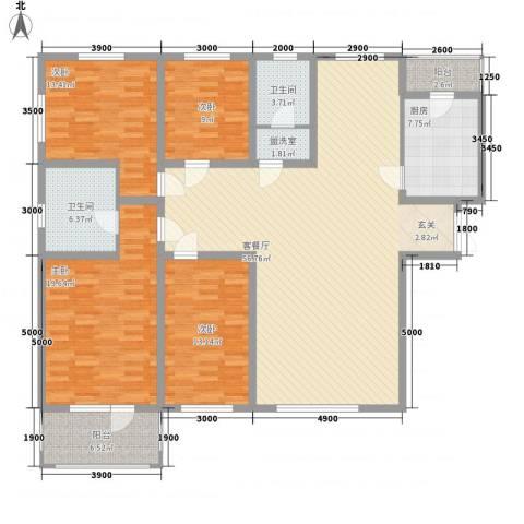 我的家园4室2厅2卫1厨188.00㎡户型图