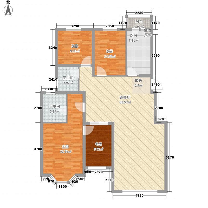 奥林匹克花园二期户型4室2厅2卫1厨