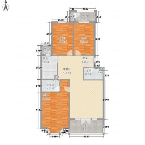 山水LAVIE3室1厅2卫1厨168.00㎡户型图