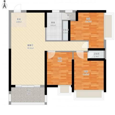 水岸花都3室1厅2卫1厨115.00㎡户型图