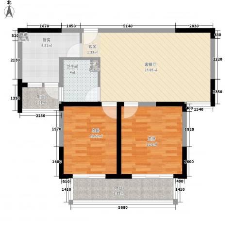 古北新城酩悦1662室1厅1卫1厨96.00㎡户型图