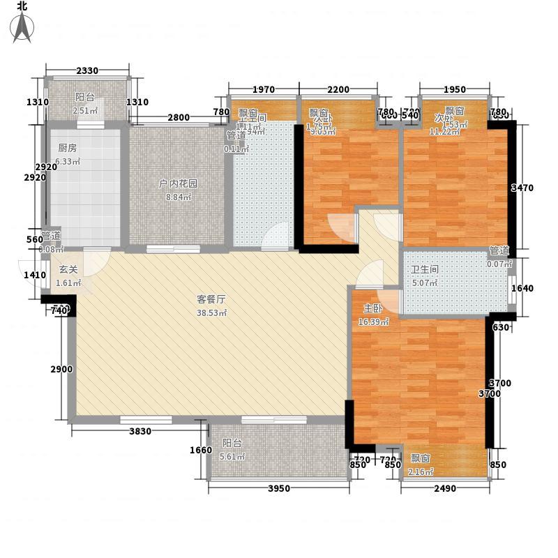 远大城市广场3室1厅2卫1厨128.00㎡户型图