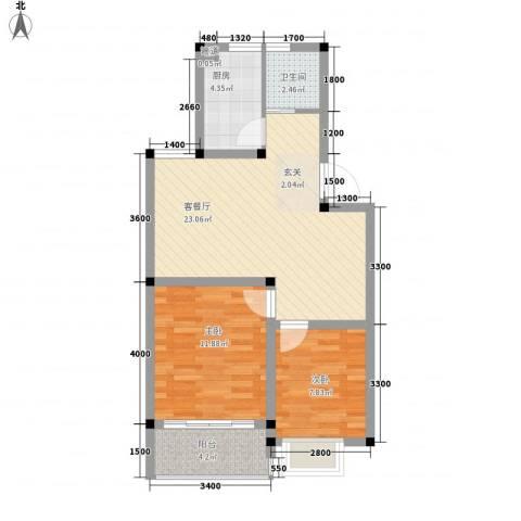 中浩森林湾2室1厅1卫1厨78.00㎡户型图