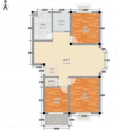 中浩森林湾3室1厅1卫1厨117.00㎡户型图