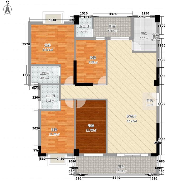 峰境壹号165.00㎡3幢标准层03户型4室2厅2卫1厨