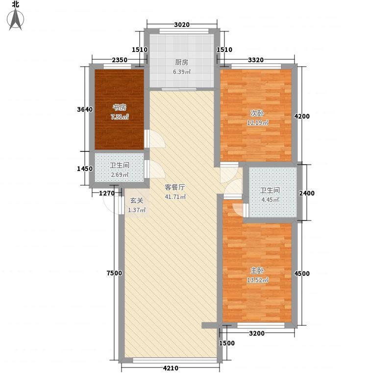 栈塘住宅小区hx户型3室2厅1卫1厨
