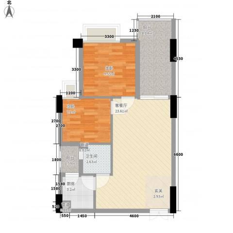 润福苑2室1厅1卫1厨72.00㎡户型图