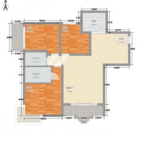 博雅苑3室1厅2卫1厨126.00㎡户型图