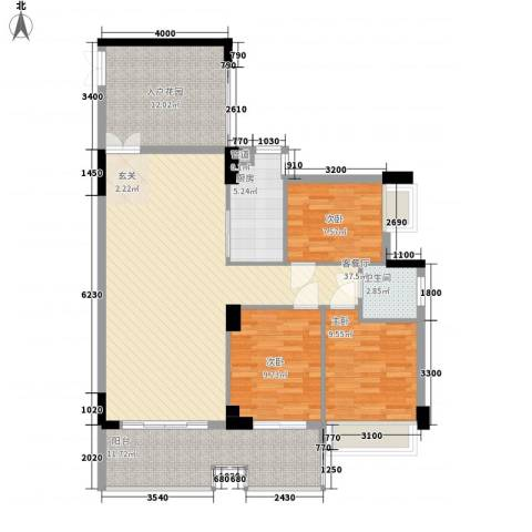 润福苑3室1厅1卫1厨117.00㎡户型图
