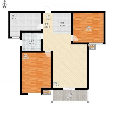 高新名门2室1厅1卫1厨143.00㎡户型图