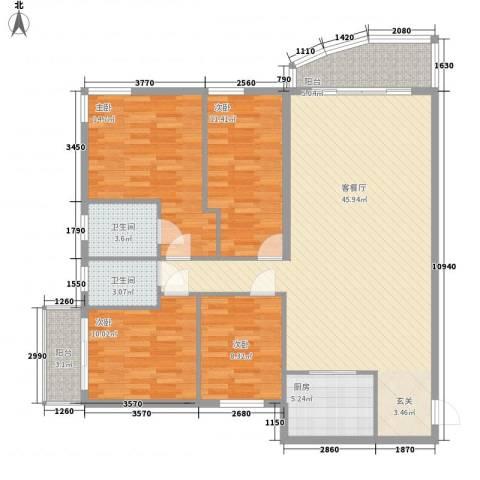 博雅苑4室1厅2卫1厨154.00㎡户型图