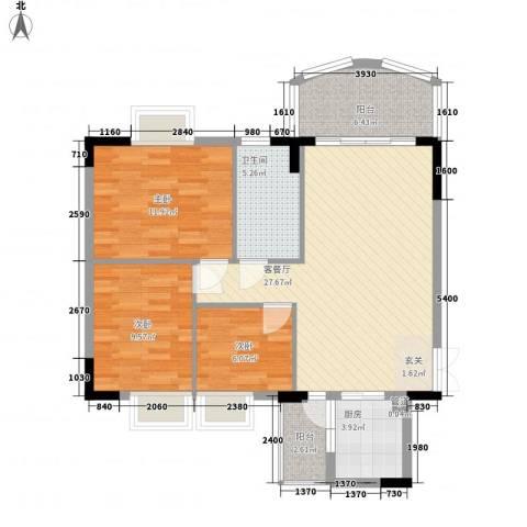 森邻美域3室1厅1卫1厨83.13㎡户型图