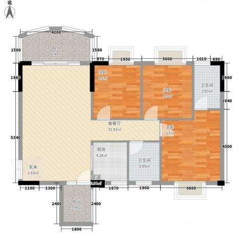 森邻美域3室1厅2卫1厨94.76㎡户型图