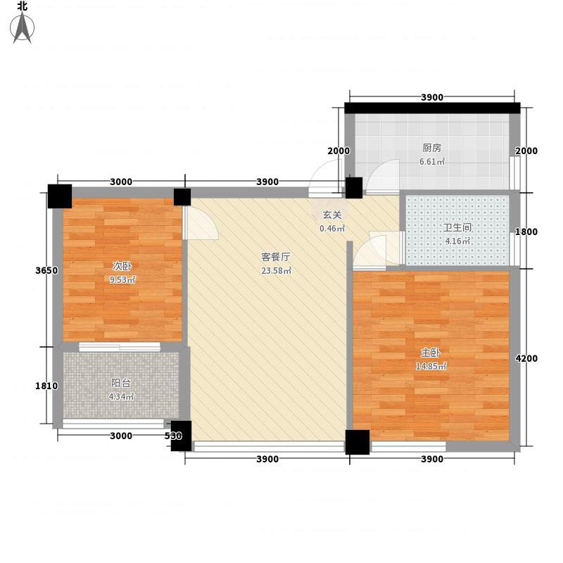 泰洋・玉龙山84.00㎡D户型2室2厅1卫1厨
